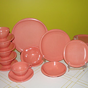 Mid-century Classic coral Boontoon Melmac/melamine 7 piece place setting.