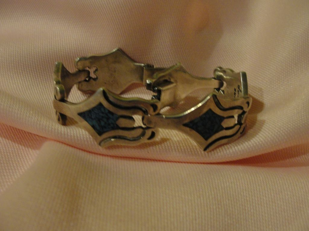 Inlaid Mexican Silver Bracelet - free shipping