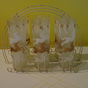 SALE PENDING LIbbey Cavalcade Frosted Glasses with Horses in White Metal Caddy/carrier - b44