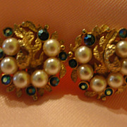 Ledo Faux Pearl and Rhinestone Clip-on Earrings - Free shipping