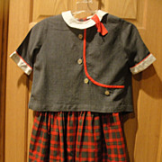 Gray and Red Plaid Little Girl's Dress with Jacket