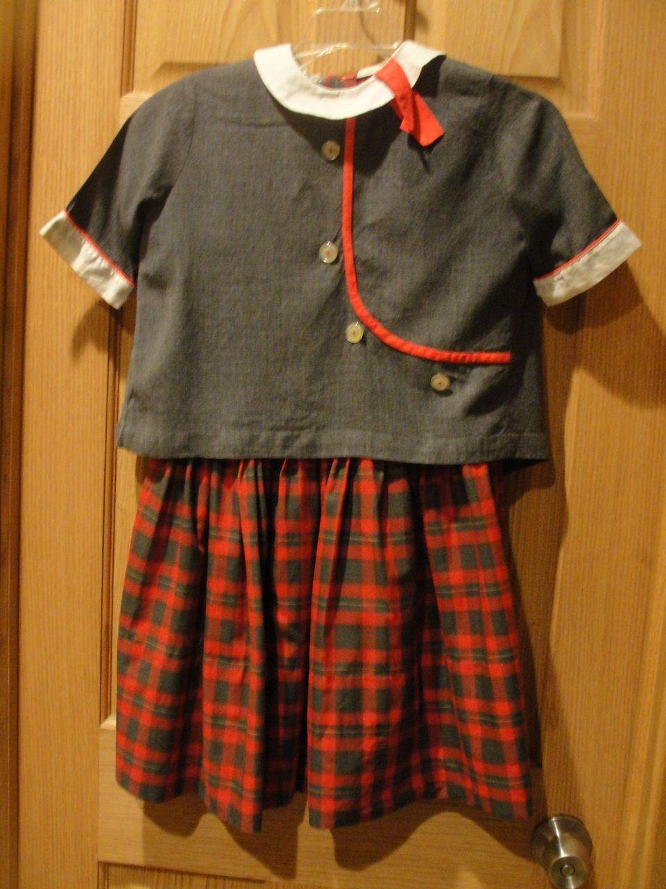 Gray and red plaid little girl s dress with jacket from