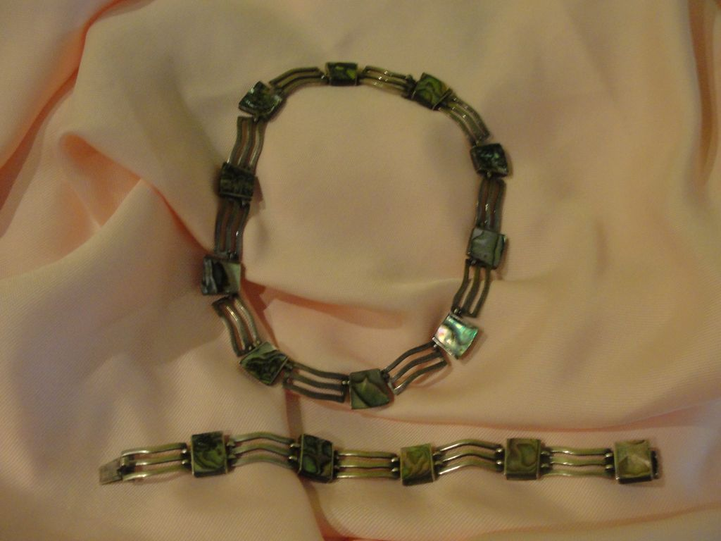 Waves of Silver and Abalone Necklace and Bracelet. - Free shipping
