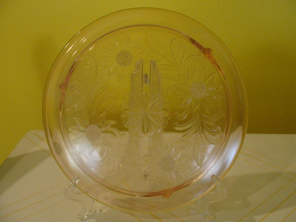 Jeannette Glass Pink Sunflower Cake Plate - b36 - b45