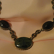 Marcasite and Agate Sterling Necklace - Free shipping