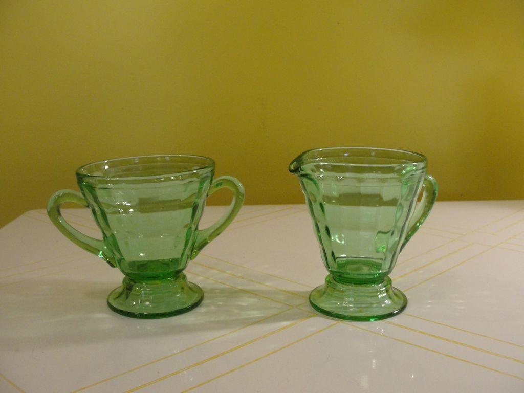 Tapered Green Glass Creamer and Sugar - b48
