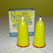 SOLD Yellow Sonette Salt and Pepper Dispensers in Box