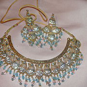 Golden Goddess Bib necklace and Chandelier Earrings - Free shipping