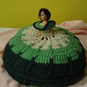 Green Eyed Lady Crocheted Pillow Doll
