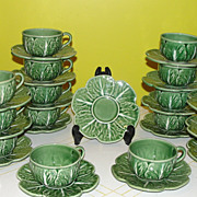 Bordallo Pinhiero Made in Portugal Green Cabbage Cups and Saucers