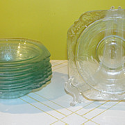 Indiana Glass Madrid Teal Rimmed Soup Bowls
