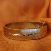 Diamond Cut Satin Finish Hinged Bangle Bracelet - Free shipping