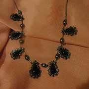 Beaded and Black Onyx Mexican Silver Necklace - Free shipping