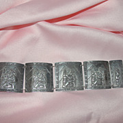 Extra wide Peruvian Silver Bracelet - Free shipping