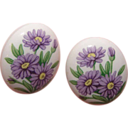 Avon Birthday Bouquet September Aster Post Earrings - Free shipping