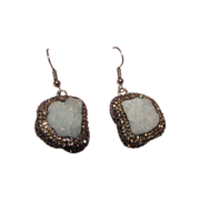 SALE PENDING Natural Nugget Druzy Quartz J-hook Earrings - Free shipping
