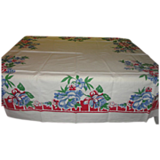 Bright Blue and Riotous Red Tablecloth - b140