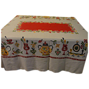 Kitchen Kitsch Red and yellow Tablecloth - b145