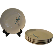 Mid-century Salem China ''Hopscotch'' Turquoise Starburst Bread and Butter Plates - g
