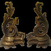 Rococo Acanthus Andirons - g