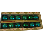 Deco Glass Blue and Green Glass Christmas Tree Ornaments in Box - L2