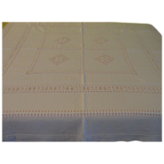 Squared Off White Drawn work Tablecloth - L2