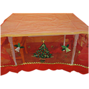 Christmas tree and bell Embellished Red Net Table Cover - b151