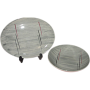 Mid-century Prim Rose China Gray Background Platter and Veggie Bowl - b159