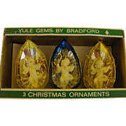 Yule Gems by Brandford Cherubs with Violins Christmas Ornaments in Package - b167