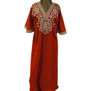 SOLD Red with White Embroidery Caftan
