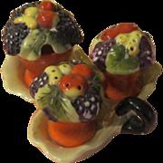 Basket of Fruit Salt and Pepper Condiment set on Lusterware Tray - b56