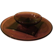 Moroccan Amethyst Hazel Atlas Chip and Dip Plate and Bowl - g