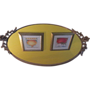 Brass Roses Oval Mirror Vanity Tray