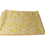 Yellow Daisy on Pink Check Fabric - l7
