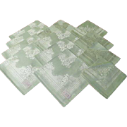 Green Damask Luncheon and Dinner Napkins - b64