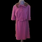 Dusty Rose Mink Collar 2-piece Suit