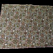Avocado and Rust Print Fabric - L7