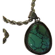 Roie Jaque Silver and Turquoise Pendant on Chain - Free shipping