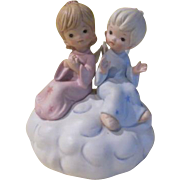 "Angels on Cloud Lefton Music Box ""Silent Night"" - b177"