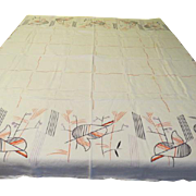 Abstract Mid-century 50's Tablecloth - b121