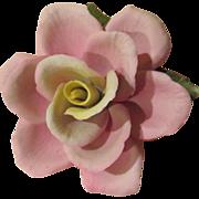 Pink Rose in Full Bloom Napoleon Ceramic Figure - gfc