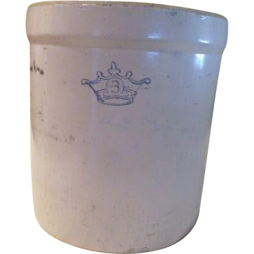 Blue Crown 3 Gallon Robinson Ransbottom Crock G From
