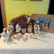 """Silent Night"""" 11 piece Nativity Set Creche in Box = b"