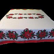 Poinsettia and Ribbon Christmas Tablecloth - b177-78