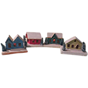 Snow Village Houses with Bottle Brush Trees - b133