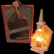 SOLD Glolite Musical Illuminated Plastic Church in Box
