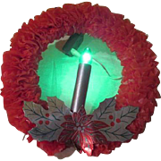 SOLD Put a Candle in the Window Red Cello Electric Wreath - b188