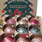 Shiny Brite Glass Christmas tree ornaments in Box - b186