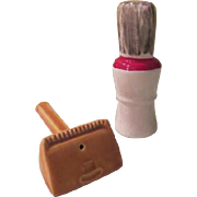 Razor and Shaving Brush Salt and Pepper shakers - spn