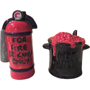 SOLD Call the Fire Department Hot Chili and Fie Extinguisher Salt and Pepper Shakers - nsp